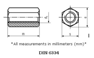 Stainless-Steel-hexagonal-coupling-nuts-DIN-6334