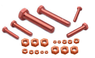 M10 1.25 COPPER PLATED EXHAUST NUT NUTS 14 mm HEX DIN 14441